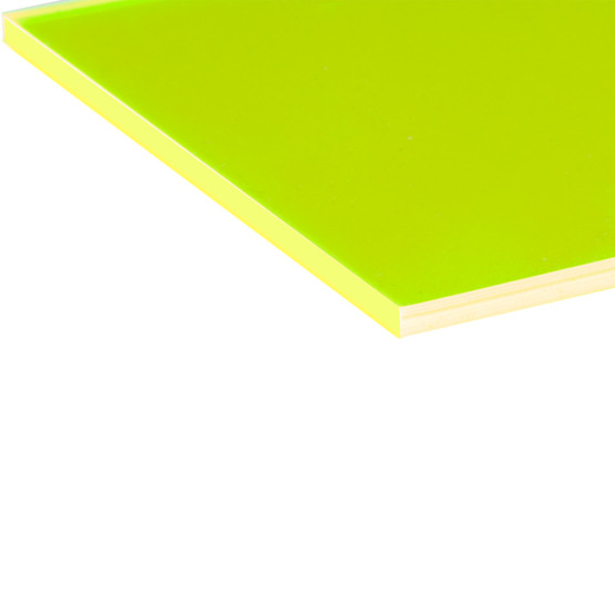Cut edges - Yellow Plexiglass fluorescent highlight for laser cutting
