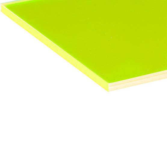 Bords coupés - Surbrillance fluorescente en plexiglas jaune pour la découpe au laser