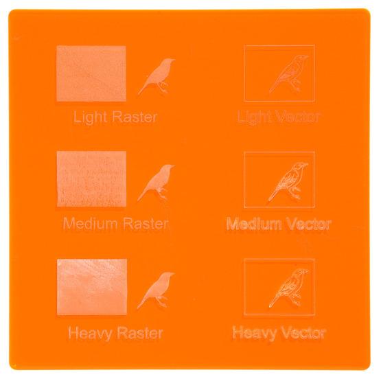 Exemple de gravure - Plexiglass orange fluorescent pour découpe au laser