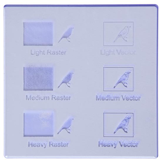 Exemple de gravure - Plexiglas bleu fluo pour découpe au laser