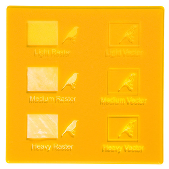 Engraving example - Amber fluo yellow Plexiglass for laser cutting