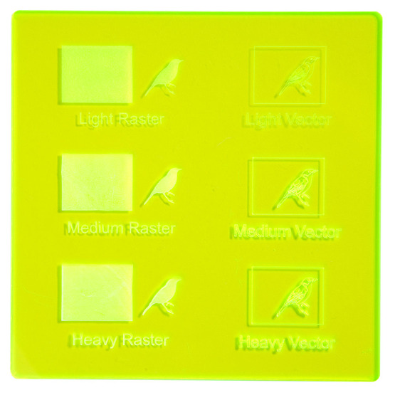 Engraving example - Yellow Plexiglass fluorescent highlight for laser cutting