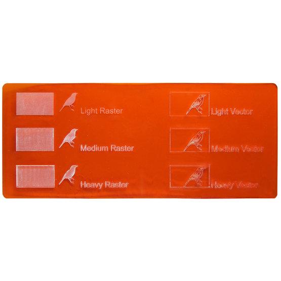 Exemple de gravure - Plexiglas orange transparent pour découpe au laser