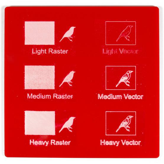 Exemple de gravure - Plexiglas de fraise rouge pour découpe au laser