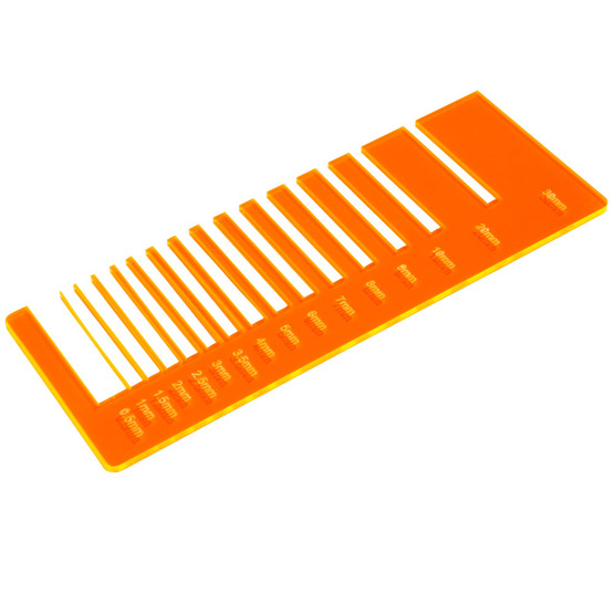 Precision test - fluorescent orange plexiglass for laser cutting