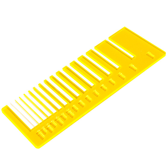 Precision test - amber fluo yellow plexiglass for laser cutting