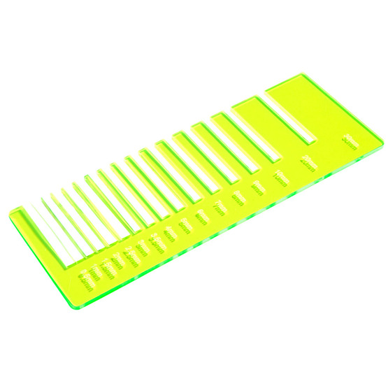 Precision test - yellow plexiglass fluorescent highlight for laser cutting