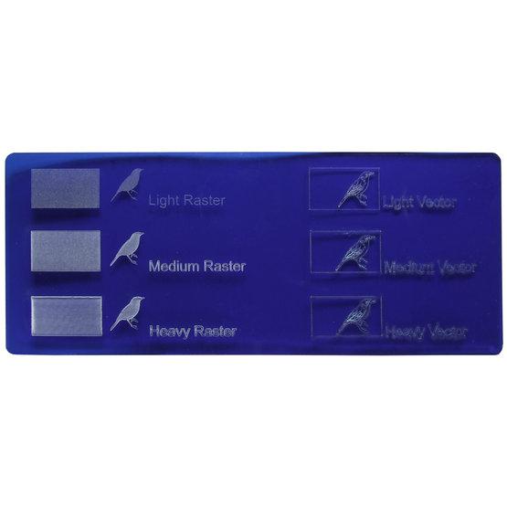 Plexiglass bleu transparent - gravure laser