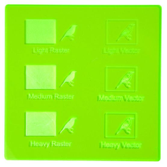 Fluorescent green Plexiglas - laser engravings