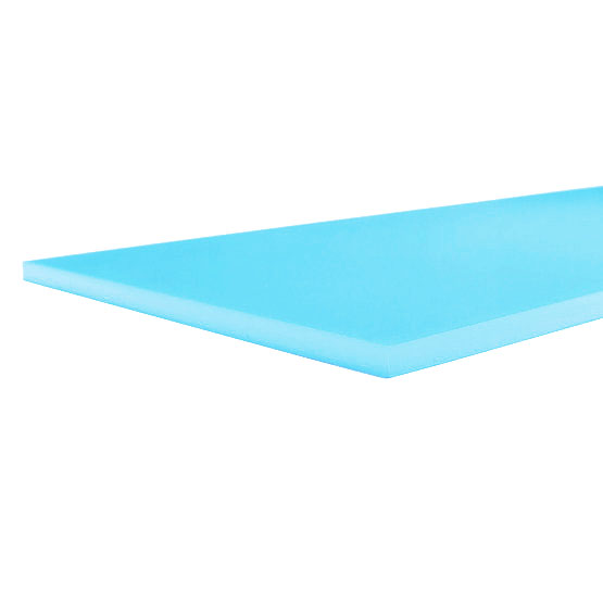 Opalino bleu ciel en plexiglas - exemple de coupe
