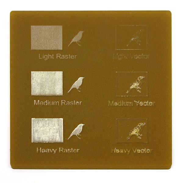 Metalized gold Plexiglass - engraving example