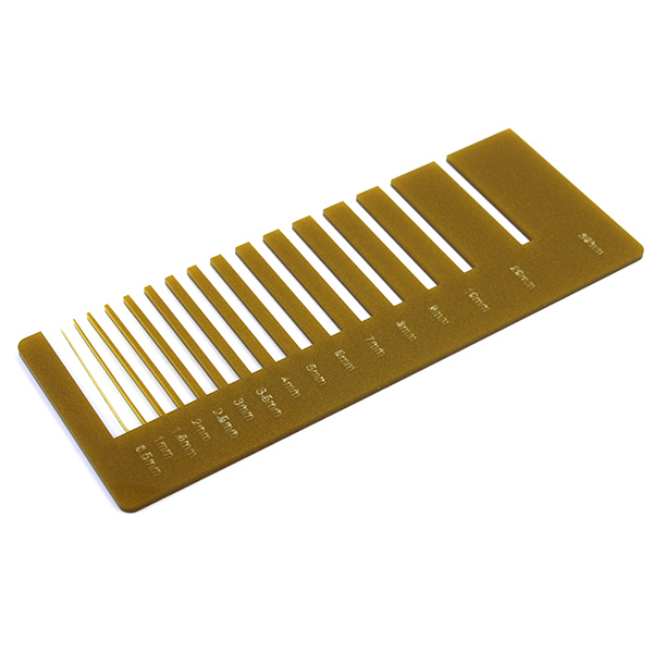 Metalized gold Plexiglass - laser cutting precision test