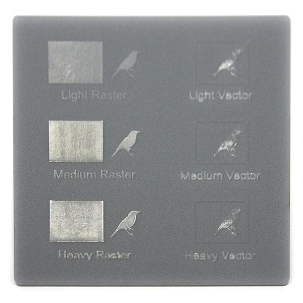 Metallic gray plexiglass - laser engraving sample