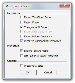 export to DAE from Sketchup