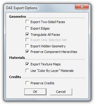 esportare in DAE da Sketchup