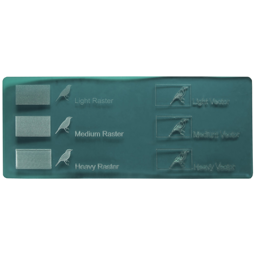 Green petroleum acryl - exemples de gravure au laser