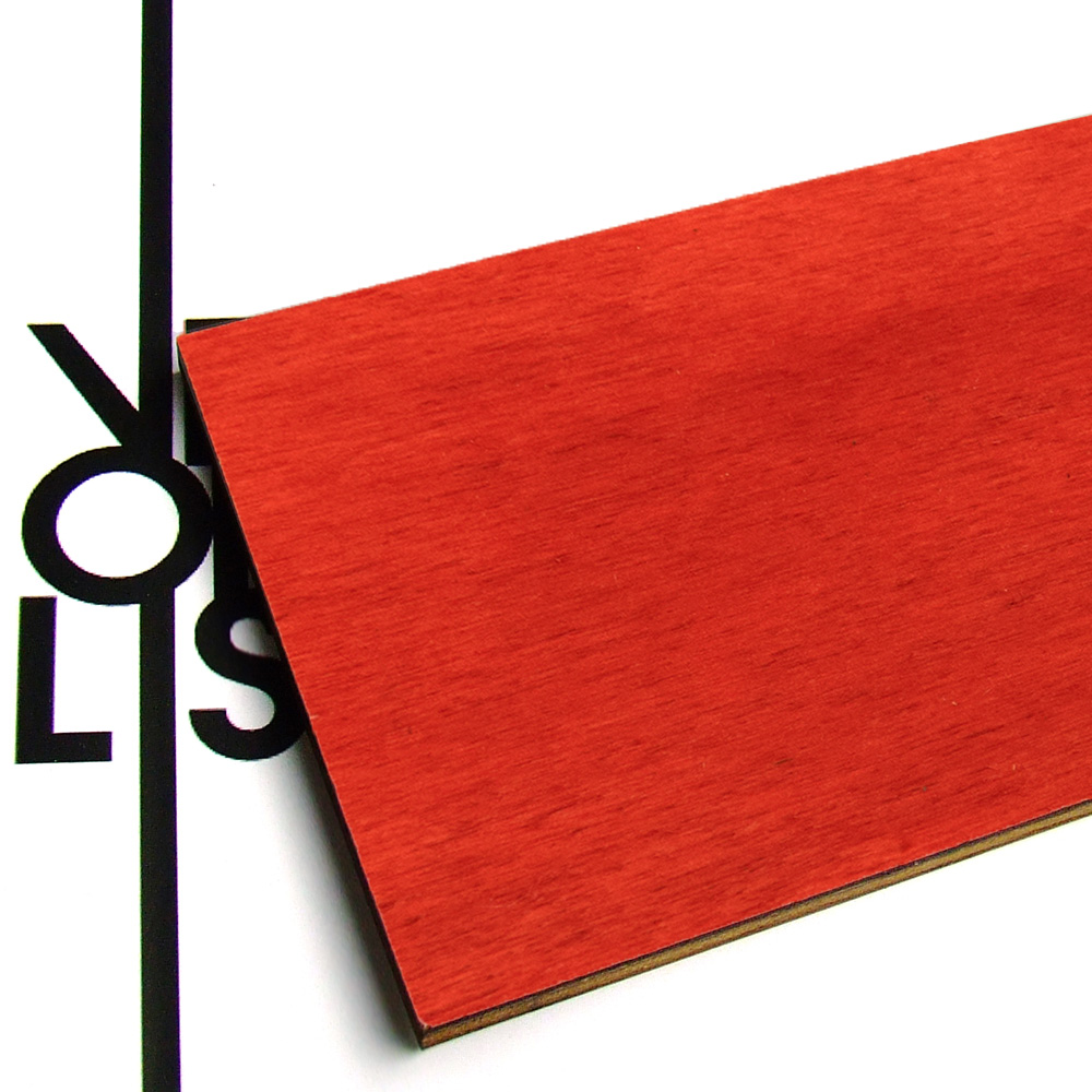 Red painted poplar plywood - finish