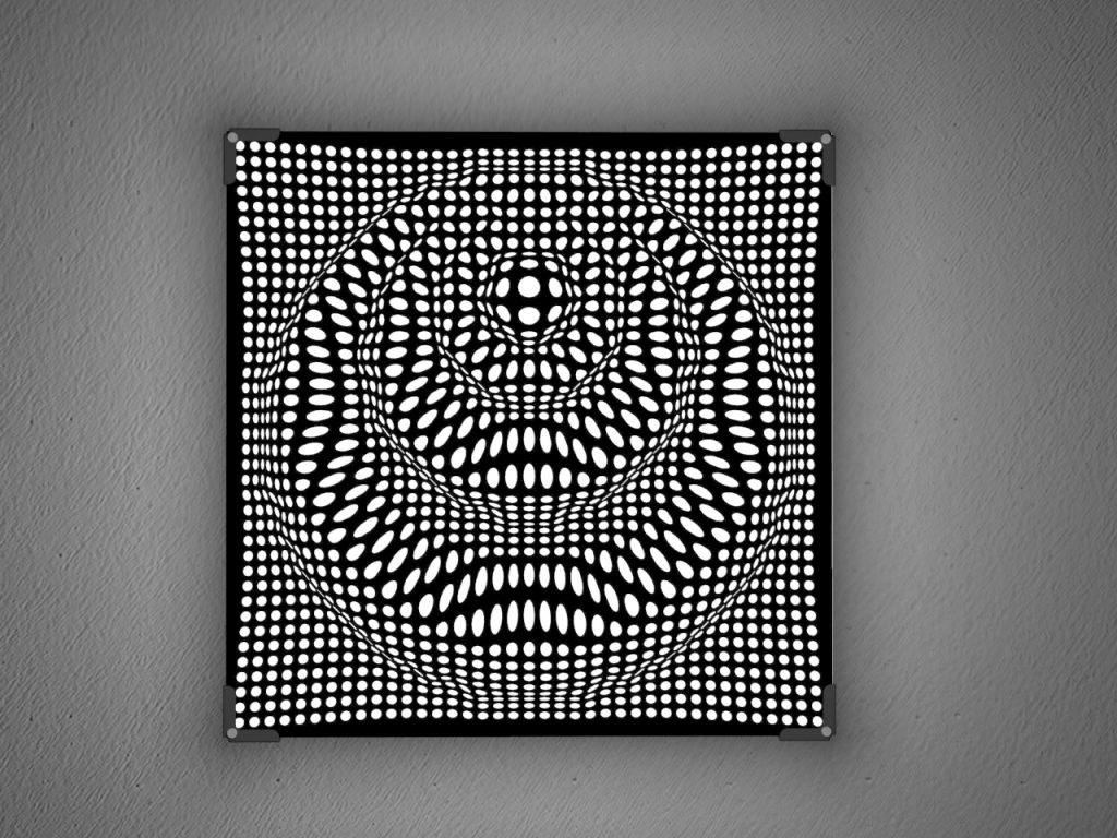Show lamps in laser cut black plexiglass | Vectorealism