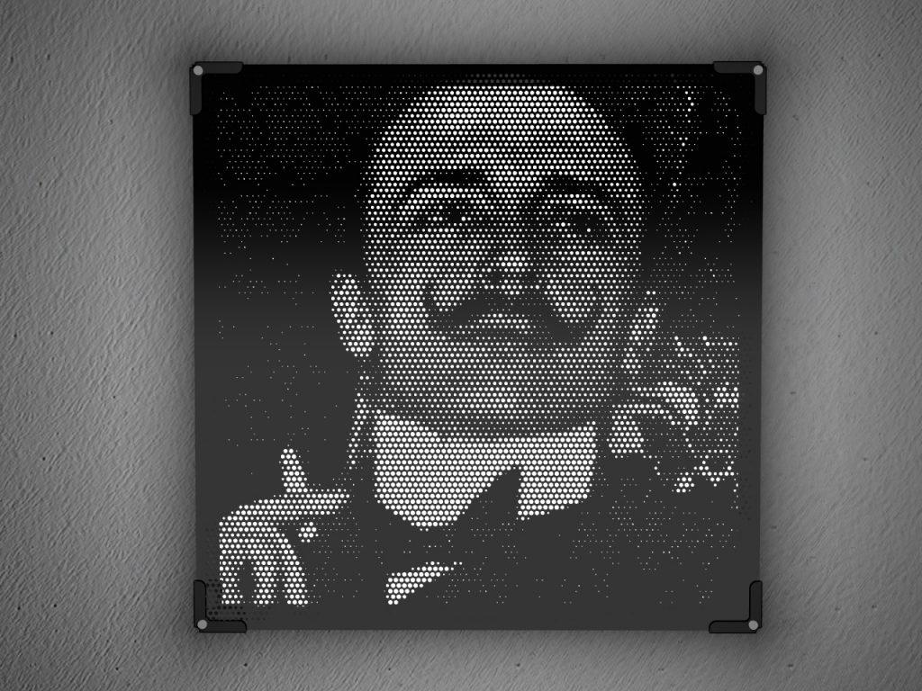 Artistic lamp in black plexiglass Vectorealism
