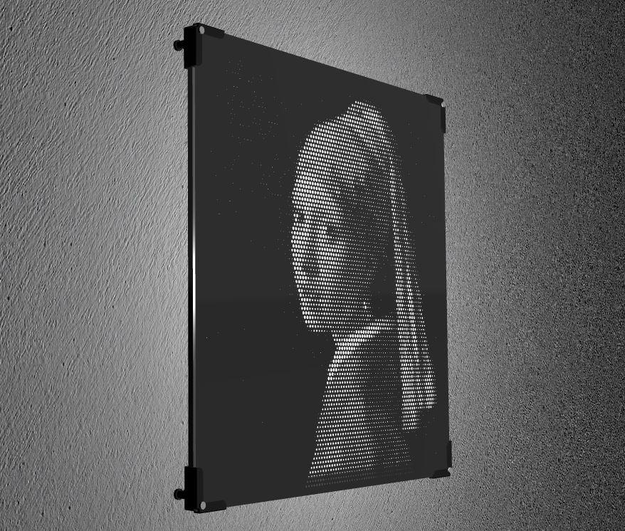 Lamp in laser cut plexiglass black | Vectorealism