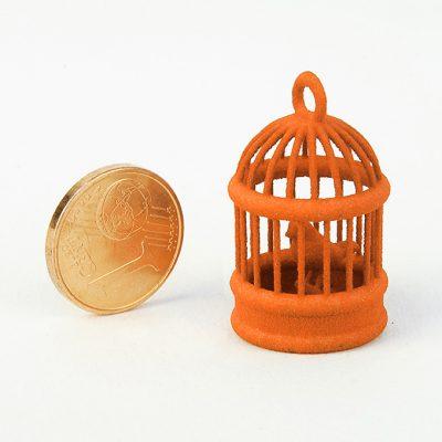 3D printing with orange plastic (nylon sls)
