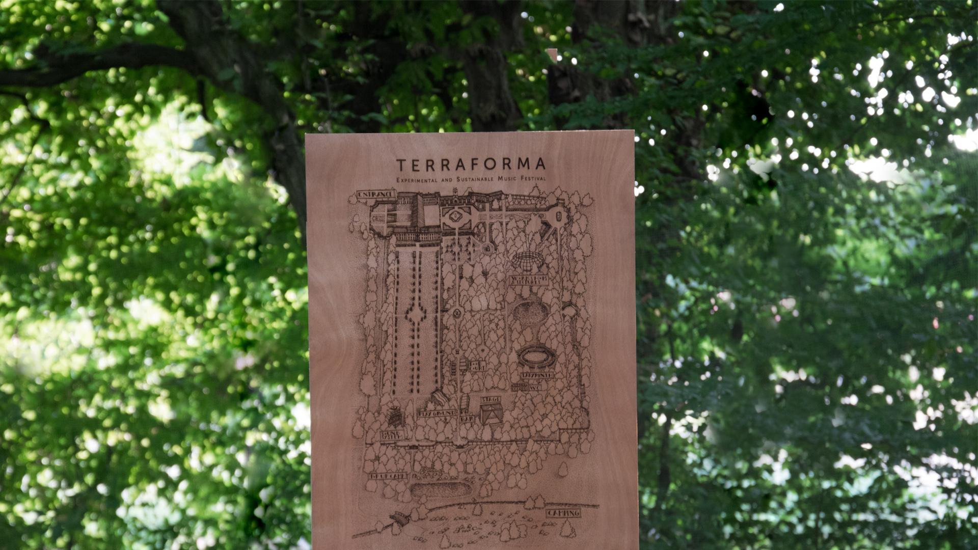 Terraforma Festival - pannello inciso al laser