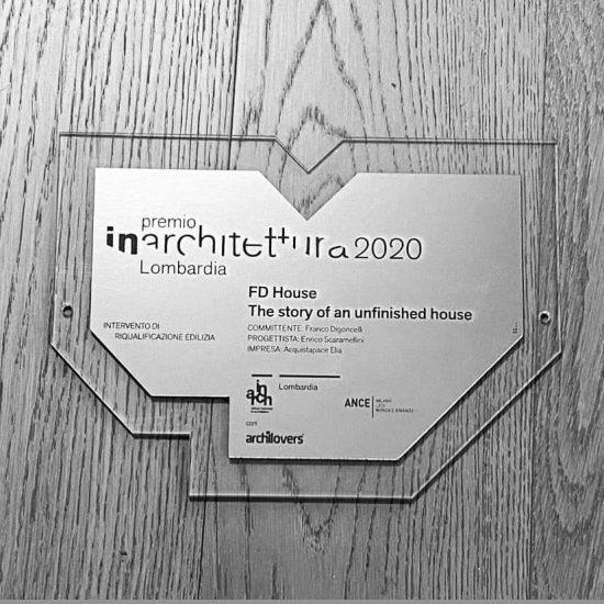 Premio in plexiglass inciso